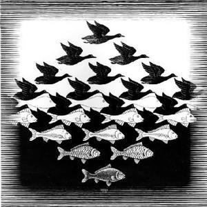 Image: M.C. Escher, Sky and Water I, 1938